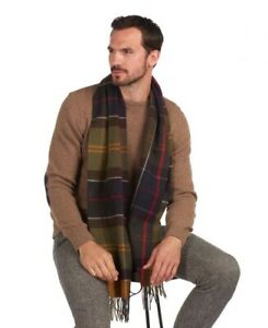 New Barbour Classic Tartan Inverness Scarf Green Earthtone 100% Lambswool