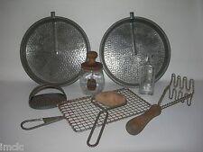 Vintage PRIMITIVE LOT~Country Antique Kitchen Farm Decor~2 Tin Cake Pans-Grater&