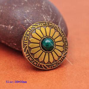 10X Sun Flower Green Bead Leather Belt Leathercraft Wallet Accessories Conchos