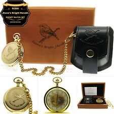 ROBIN Bird Gold Pocket Watch Gift Set Large Brass Case + Chain Pouch Wood Box 79