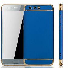 Handy Hülle Schutz Case für Huawei Honor 9 Bumper 3 in 1 Cover Chrom Etui Blau