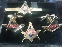 Guards Division gilt Square+ Compass Cufflink, Tieslide, lapel pin set, Masonic
