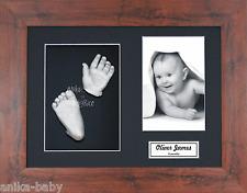 New Baby Casting Kit Unisex Gift Silver Hand & Feet Mahogany Effect 3D Box Frame