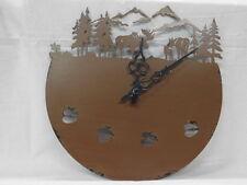 Moose Metal Laser Cut Wall Clock Brown w Pine Trees mountains tracks