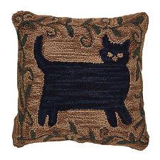 Pretty Primitive Folk Art Black Cat Hooked Pillow Cover, 18x18 Inch, 403-52-CVR