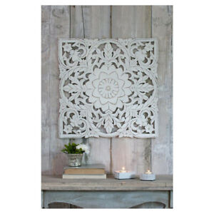 Stunning Carved Distressed White Mango Wood Art Square Wall Hanging Frame Panel