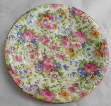 """ROYAL WINTON GRIMWADES SUMMERTIME CHINTZ COFFEE SAUCER S ONLY GOLD 5 1/2"""" VINTAG"""