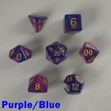 Elemental Poly 7 Dados Rpg Juego Violeta Azul dos tonos D&D DND Dungeons Dragons HD