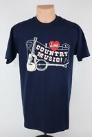 """Vintage Belton """"I Love Country Music"""" Single Stitch Graphic Tee USA Mens Large"""
