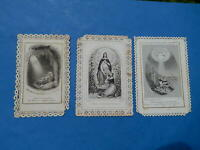 LOT 3 IMAGES PIEUSES lace canivets  HOLY CARD VICTOIRE ESPOIR FAIBLESSE THFR