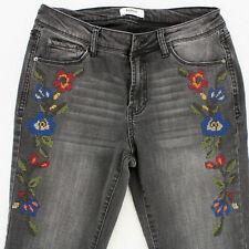 KENSIE JEANS SKINNY STRETCH BLACK Denim Jeans FLOWER EMBROIDERY WOMEN'S 4 27
