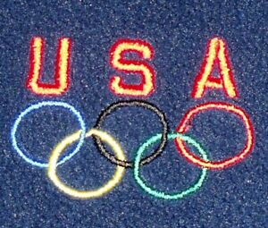 USA OLYMPICS FLEECE JACKET SWEATSHIRT zip up team rings sports summer winter L