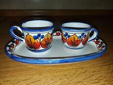 Coppia tazzine con vassoio ceramiche Santo Stefano di Camastra Sicilia