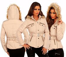 Damen Steppjacke Winterjacke Jacke mit Gürtel und Kunstfell Kapuze, S/M 36/38