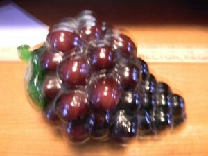 "Art Glass Fruit Vegetables Vintage Hand Blown Murano Style Grapes 7"" long"