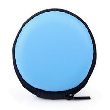 Mens Ladies Round Key Coin Money Headset Headphone Earbud Wallet Zip Purse Blue