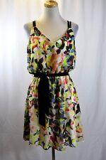 Thalia Sodi Summer Floral Chiffon Blouson Belted Dress M/M #F172