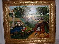 Naive pittura paese vita Bauer momento del raccolto sign. Geraldin Oli Olio su tela