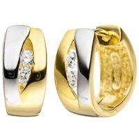 Paar Ohrringe Creolen Ohrschmuck mit 4 Zirkonia 925 Silber vergoldet bicolor