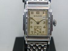 1930`s BULOVA  * SENATOR  * ..RARE WHITE GOLD FILLED  STEPPED CASE ...SERVICED
