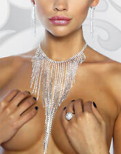 COLLIER STRASS MARIAGE CEREMONIE NECKLACE STRASS SAUTOIR WEDDING BIJOUX PARURE