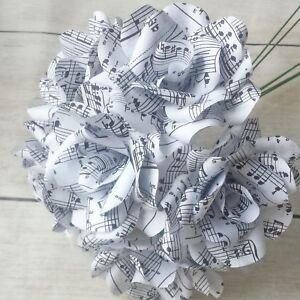 6 Handmade Sheet Music Paper Flower Roses - Home Decor - Anniversary Gift