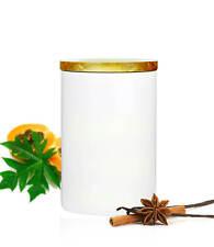 blanc dose Inventaire 800ml avec couverture en bois porcelaine réservoir Boîte