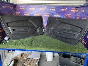 2010-2014 Ford Mustang GT Black Leather Power Door Panels Pony Emblem Set Pair