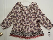NEW! CHAPS Paisley COTTON VISCOSE Blend MID WEIGHT GAUZE Peasant Blouse Top 2X