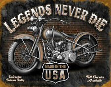 Legends Never Die Tin Sign Harley Davidson Gift Motorcycle Shop Garage Picture