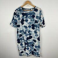 Tirelli Womens Dress Small Blue Polka Dot Short Sleeve Round Neck Linen Blend