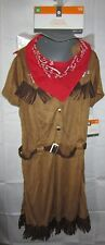 NWT Youth Halloween Costume Cow Girl Brown Dress Bandana Medium NEW $25 Retail