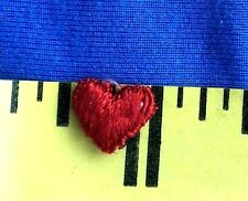 "(2) Tiny Heart Patch Sew-on Patch Sew-on Applique Red 3/8"" x 1/2""  #338R"