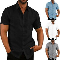 Mens Short Sleeve Button Down Shirts T Spread Collar Comfy Cotton Shirts
