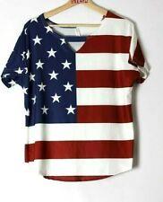Womens USA flag blouse size XL