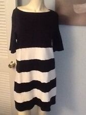 RIVER.ISLAND SHORT SLEEVE NAVY BLUE WITH WHITE STRIPED DRESS SIZE- UK-14 US-8-10