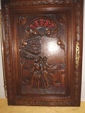 boiserie bois sculpté porte de buffet  gauche couple breton 47 x 64 cm (5680)