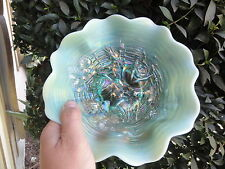 Aqua Opalescent Rose Show Ruffled Bowl - Fantastic