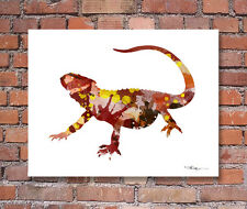 Bearded Dragon Lizard Abstract Watercolor Painting Art Print by Artist DJ Rogers