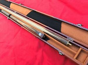 Handmade 3 Piece Grade A Ash Snooker Cue Set with Case and Mini Butt