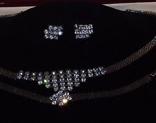 Vintage Estate Art Deco Rhinestone Parure Necklace Bracelet Earrings Elegant