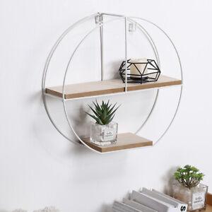 Floating Shelves Metal Wall Shelf Unit Wooden Display Storage Rack Home Decor UK