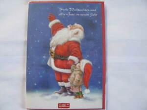 Klappkarte mit roten Umschlag Lisi Martin Weihnachtsmann mit Kind