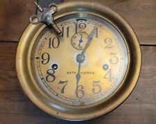 New listing Vintage Seth Thomas Brass Ships Clock - Antique Toning - Needs Second Hand Screw