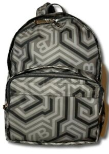 $800 Bally Wolfson Nylon Backpack Printed with Leather Trim