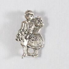 ME INK MARY ENGELBREIT  Sterling Silver Boy & Girl Brooch Pin