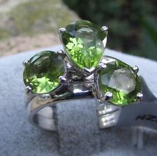 3.92 cts Genuine Changbai Peridot Size 7 Set 3 Stacker Rings in Sterling Silver