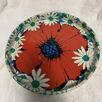 "Vintage Floral Round Metal Tray 13.5"""