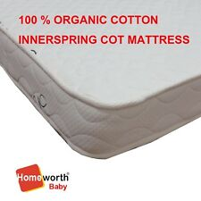 NEW 100% CERTIFIED ORGANIC COVER INNERSPRING COT CRIB BED MATTRESS 130X69 CM