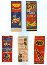 5 Different Genuine 1940'2 Soda Matchbook Covers, Matches Never Added.